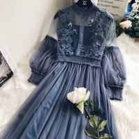 Lantern Sleeve Voile Long Vintage Dress