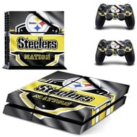 Pittsburgh Steelers PS4 Skin Sticker Decal For Sony PlayStation 4 Console and 2 Controllers PS4 Skins Stickers Vinyl