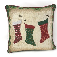 Tache Festive Christmas Holiday Hang My Stockings By the Fireplace Cushion Cover (DB12910CC-1616)