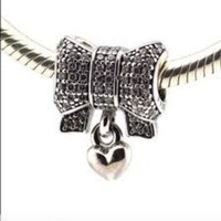 Pandora Charms Heart and bow Sparkling Sterling Silver Authentic Pandora