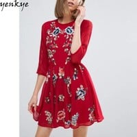 Summer Chiffon Dress O Neck Half Sleeve Red Sundress Casual Party Women Floral Embroidery Dresses