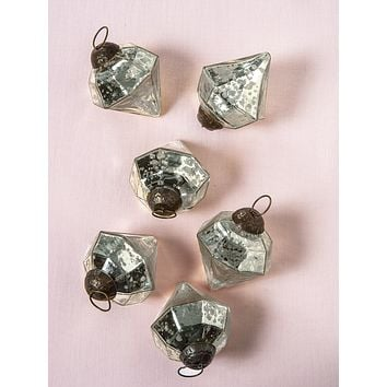 6 Pack   Mercury Glass Small Ornaments (2.25-inch, Silver, Elizabeth Design) - Great Gift Idea, Vintage-Style Decorations for Christmas, Special Occasions, Home Decor and Parties