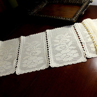 Cream Crocheted Table Runner, Sectioned Table Scarf, Vintage Table Linens 12376