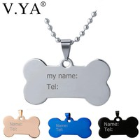 V.Ya Personalized ID Dog Tags Name Pendant Necklaces Fashion DIY Custom Engraved Stainless Steel Lovely Pet Jewelries Necklaces