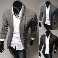 Modern Men Fashion Design Button-less Cardigan