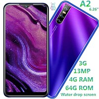 A2 quad core Water drop screen 6.26inch smartphones 4G RAM 64G ROM 13mp Face ID unlocked a...