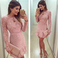 Long Sleeve Embroidery Lace Dress 5570889