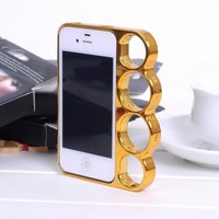 four ring finger tiger border protection Hard Case for Iphone 4/4s