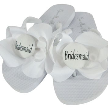 White Flat Bridesmaid Bow Flip Flops - many colors for a great bridesmaid gift