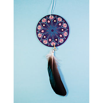 Teal Mandala with Feather Air Freshener