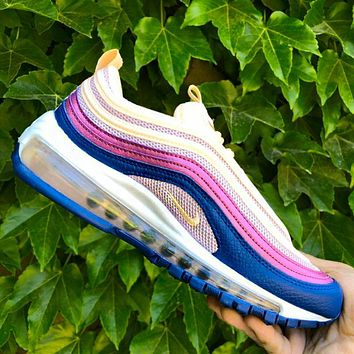 Nike Air Max 97 hot seller of knitted, color-monochrome women's full-palm Air shoes