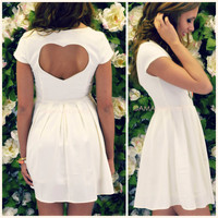 Love Tonic Ivory Open Heart Back Dress