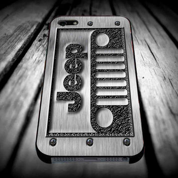 Jeep Logo Silver for iPhone 4/4s/5/5s/5c/6/6 Plus Case, Samsung Galaxy S3/S4/S5/Note 3/4 Case, iPod 4/5 Case, HtC One M7 M8 and Nexus Case ***