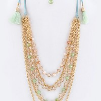 TASSELED DRAW STRING BEADED LAYERED CHAIN NECKLACE SET