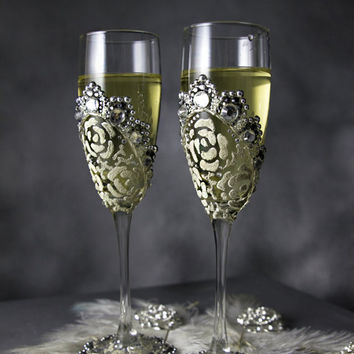 Personalized Wedding Champagne Flutes Rhinestone Wedding Toasting Flutes 25th Anniversary Gift Wedding Silver Glasses, 2pcs G4/11/12/16-0003