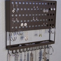Wall Mount Jewelry Organizer Multi-Purpose Earring Angel Earring Holder and Necklace Storage Rack 3 Colors Available (Delani-Brown)