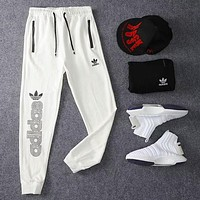 Adidas Trending Women Men Stylish Embroidery Print Drawstring Sport Pants Trousers Sweatpants White