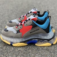 Balenciaga Triple S Clear Sole Grey/Blue/Red Trainers Oversized Multimaterial Sneakers With Air Bubble Inside The Sole - Best Online Sale