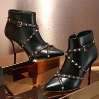 Valentino Women Fashion Simple Casual High Heeled Boots Shoes