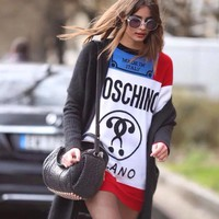 Moschino Women Fashion Wool Long Top Sweater Pullover Dress