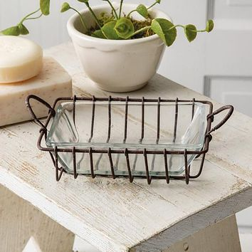 Wire Soap Dish with Glass Dish - Box of 2