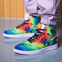 J Balvin x Air Jordan 1 gradient rainbow tie-dye high-top basketball shoes