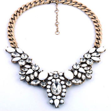 Clear Crystal Statement Necklace