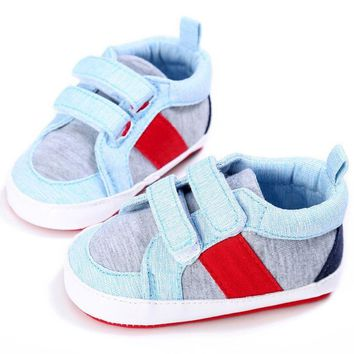 Kids Baby Boys Girls Stripes Anti-Slip Sneakers Soft Bottom Shoes First Walkers