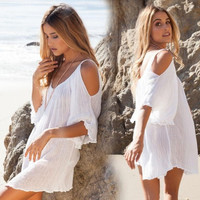 White Summer Dress Flare Sleeve Dresses Beach Sun Dress = 5613033473