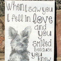Saw you Fell in Love,Yorkie,Yorkshire Terrier- Canvas Art Typography Dog Breed Art, Custom Dog Canvas