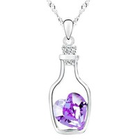 Bottled Up Love IOBI Crystals Necklace In Amethyst For Woman