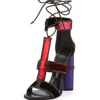 TOM FORD Multicolor Patchwork Leather & Velvet Sandal