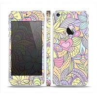The Vibrant Color Floral Pattern Skin Set for the Apple iPhone 5