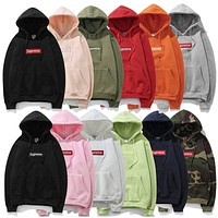 Supreme Women Men Fashion Casual Hooded Top Sweater Pullover
