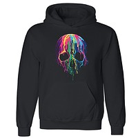 "Zexpa Apparelâ""¢ Melting Skull Neon Unisex Hoodie Colorful Day Of Dead Muertos Hooded Sweatshirt"