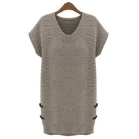 Women Knitting Sweater Pullover Outwear Dress Short Sleeve Long Top 2 Colors 5 Sizes M-XXXL = 1667723844