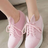 Pink Heavy-Soled Within The Higher Rabbit Ears Casual Shoes