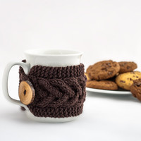 Cup Cozy in Brown, Knitted Mug Cozy, Coffee Cozy, Tea Cup Cozy, Handmade Wooden Button, Coffee Cozy Sleeve, Warmer, Winter, Gift