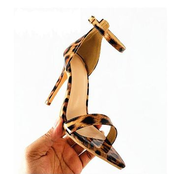 New Ladies Sandals Leopard Print Pointed Stiletto High Heels Large Size