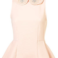 Topshop - Pearl Collar Peplum Top customer reviews - product reviews - read top consumer ratings