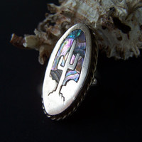 Vintage Ring Sterling Silver and Paua Shell Inlay Cactus Statement Ring , Size 6 , Stamped Mexico