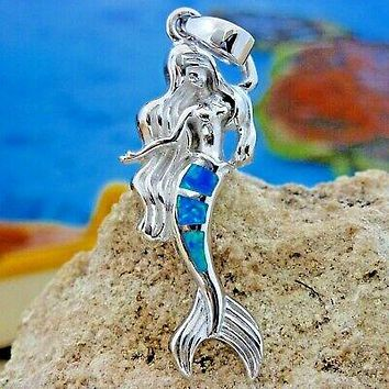 BEAUTIFUL STERLING SILVER BLUE OPAL MERMAID PENDANT WITH LONG FLOWING HAIR