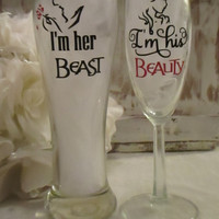 Disney Inspired Wedding Day Toasting Glasses ~ I'm her Beast ~ I'm his Beauty ~ Pilsner and Champagne Flute for Bride and Groom ~ Belle