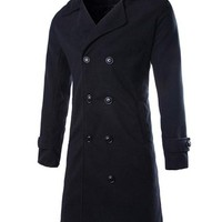 jeansian Men's Fashion Double Breasted Thickened Long Jacket Coat Outwear Tops 9334