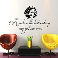 Wall Decals Quotes Vinyl Sticker Decal Quote Marilyn Monroe A smile is the best makeup any girl can wear Home Decor Bedroom Art Design Interior NS410