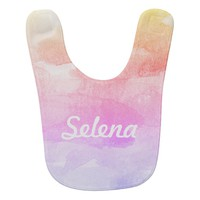 Personalized Girls Ombre Rainbow Watercolor Bib