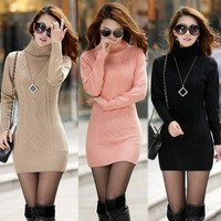 Women's Autumn Winters High Collar Turtleneck Sweater Long Thickening Knitted Sweaters