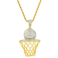 "Designer Men's Fashion Basket Ball Pendant 18k Gold Finish with Free 24"" Rope Necklace"