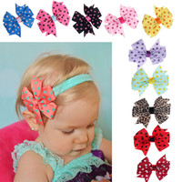 10PC Babys Headband Girls Kids Cute Hairband Elastic Wave Point Bowknot Pography Hair Wear Promotion