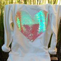 "The ""Dazzle My Love"" Sweatshirt - Sequin Heart Sweatshirt - Valentines Day Heart Shirt"